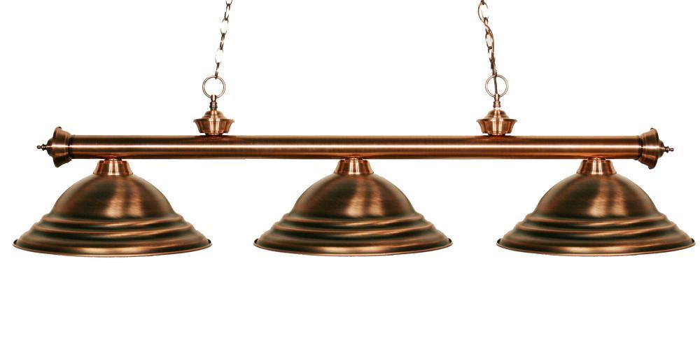 Three Light Antique Copper Antique Copper Shade Pool Table Light