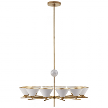 Visual Comfort KW 5511AB-WHT - Cleo Large Chandelier in Antique-Burnished Brass
