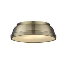 "Golden 3602-14 AB-AB - Duncan 14"" Flush Mount in Aged Brass with an Aged Brass Shade"