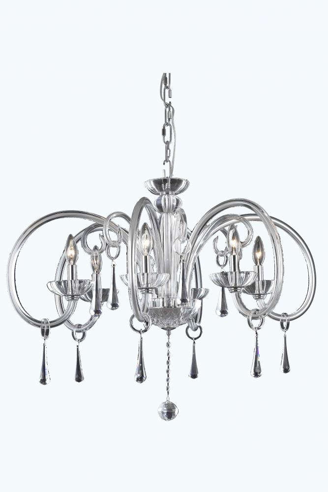 6926 Scroll Collection Hanging Fixture D33 3in H18 2in Lt 6 Chrome Finish Swarovski Elements Cryst Hmldd Lighting Palace